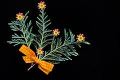 绿色杜松分支与一把黄色弓的由织品和自然花制成在黑背景 免版税库存图片