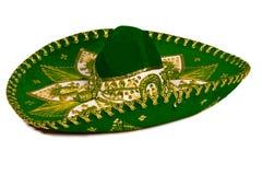 绿色查出的墨西哥阔边帽 免版税库存图片