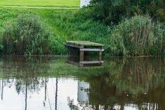 绿色栈桥在河 库存照片