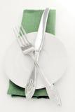 绿色格式餐巾表 免版税库存照片