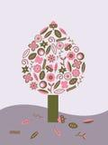 绿色桃红色结构树 免版税库存图片