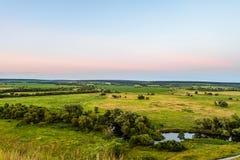 绿色森林干草原平原看法  河Koren根谷,别尔哥罗德州地区,俄罗斯典型的风景  库存照片