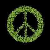 绿色植物和平标志 免版税库存照片