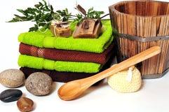 绿色植物蒸汽浴健康 图库摄影