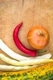 绿色橙色夏南瓜、白豆荚、葱和红色辣椒 库存照片