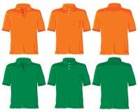 绿色橙色马球集合衬衣 免版税库存图片
