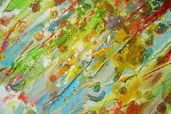 绿色橙黄颜色,蜡状的抽象背景 库存照片