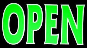 绿色氖开放符号 库存照片