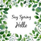 绿色水彩框架 新春天叶子和树枝的构成与文本 免版税库存图片