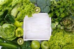 绿色水果和蔬菜的混合 免版税图库摄影