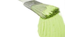 绿色油漆刷 库存照片