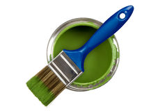 绿色油漆罐头 库存照片