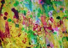绿色泥泞的金黄嬉戏的形状,形式,抽象淡色颜色 免版税库存照片