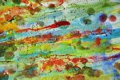 绿色泥,蓝色橙黄颜色,蜡状的抽象背景 库存照片
