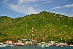 绿色海岛码头在泰国 免版税图库摄影