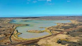 绿色湖在地热来源Gunnuhver区域  库存图片