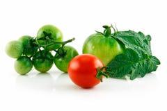 绿色湿查出的红色成熟的蕃茄 免版税库存图片