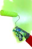 绿色漆滚筒 库存照片