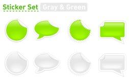 绿色灰色贴纸 免版税库存图片