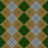 绿色灰色knitwork模式格子呢黄色 库存照片