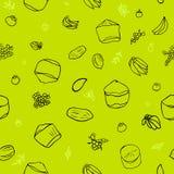 绿色热带水果无缝的模式 皇族释放例证