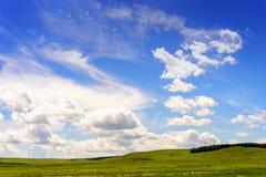 绿色牧场地和蓝色夏天天空 库存图片