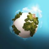 绿色现代行星风车 免版税图库摄影