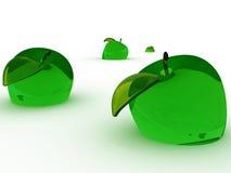 绿色玻璃苹果 免版税库存图片