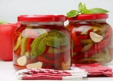 绿色瓶子胡椒pickeled红色 免版税库存照片
