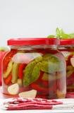 绿色瓶子胡椒pickeled红色 免版税库存图片