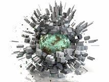 绿色生锈的镀铬物城市Scape摘要 向量例证