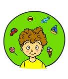 绿色的逗人喜爱的小男孩 库存图片