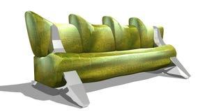 绿色皮革沙发 库存图片