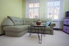 绿色皮革沙发 库存照片