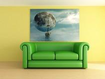 绿色皮革沙发 免版税库存照片