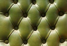 绿色皮革老模式纹理室内装潢 免版税库存照片