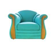 绿色皮革老沙发 图库摄影