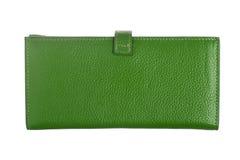 绿色皮革钱包 免版税图库摄影