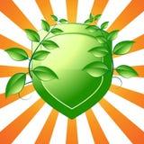 绿色盾象征 免版税图库摄影