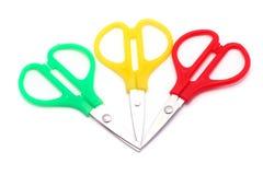 绿色矮小的红色剪刀黄色 免版税库存照片