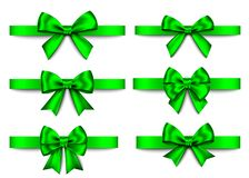 绿色礼物鞠躬圣诞节的集合,新年装饰 向量例证