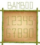 绿色竹子在老纸背景黏附数字里面杆框架 向量例证