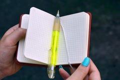绿色笔在一个开放笔记薄在手上说谎 库存照片