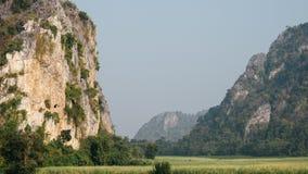 绿色米领域有云彩和山背景 16:9 图库摄影