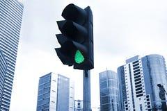 绿色红绿灯 图库摄影