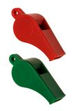 绿色红色口哨 库存图片