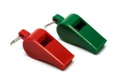 绿色红色口哨 免版税图库摄影