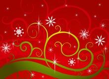 绿色红色雪花冬天妙境 向量例证