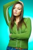 绿色纵向妇女 免版税库存照片