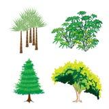 绿色结构树和工厂的等量收藏 库存图片